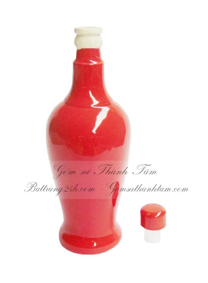 bán bình đựng rượu màu men đỏ