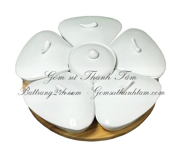 Bán buôn khay đựng bánh kẹo mứt tết gốm sứ Bát Tràng, khay đựng bánh kẹo chất lượng giá rẻ, đẹp in logo quà tặng