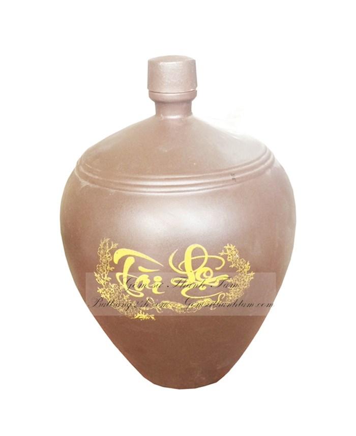 Bình rượu gốm sứ bát tràng, bình rượu men đen in logo cao cấp