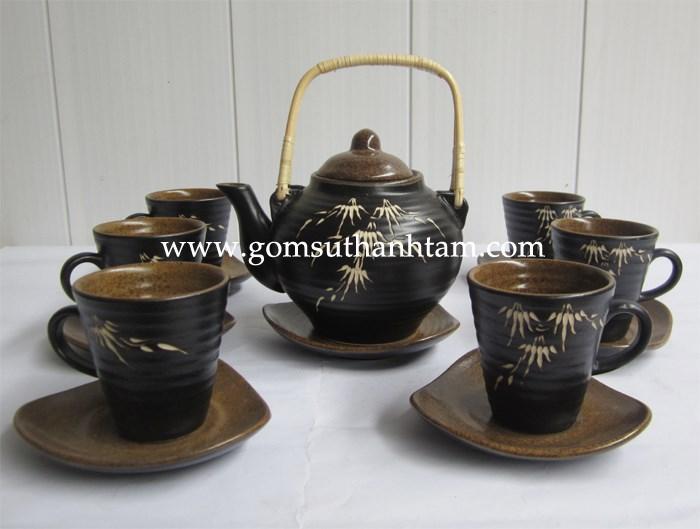 bình trà sứ,bình sứ uống cafe,bộ ấm chén cafe,bộ ấm chén gốm sứ bát tràng cao cấp,đẹp,giá rẻ,in lôgô