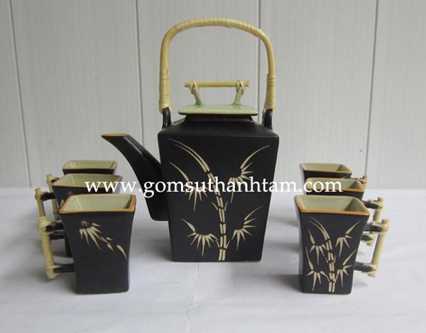 bộ ấm chén uống trà,bộ ấm chén bát tràng đẹp,ấm chén trà quà tặng gốm sứ in lôgô