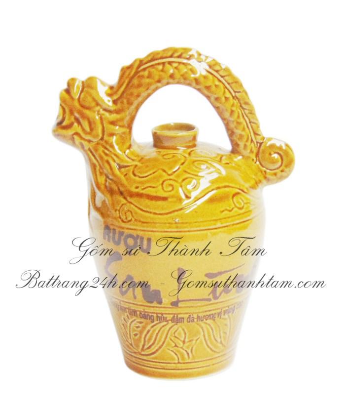 Mua bình sử dụng rượu đẹp men vàng, bình rượu gốm sứ bát tràng cao cấp