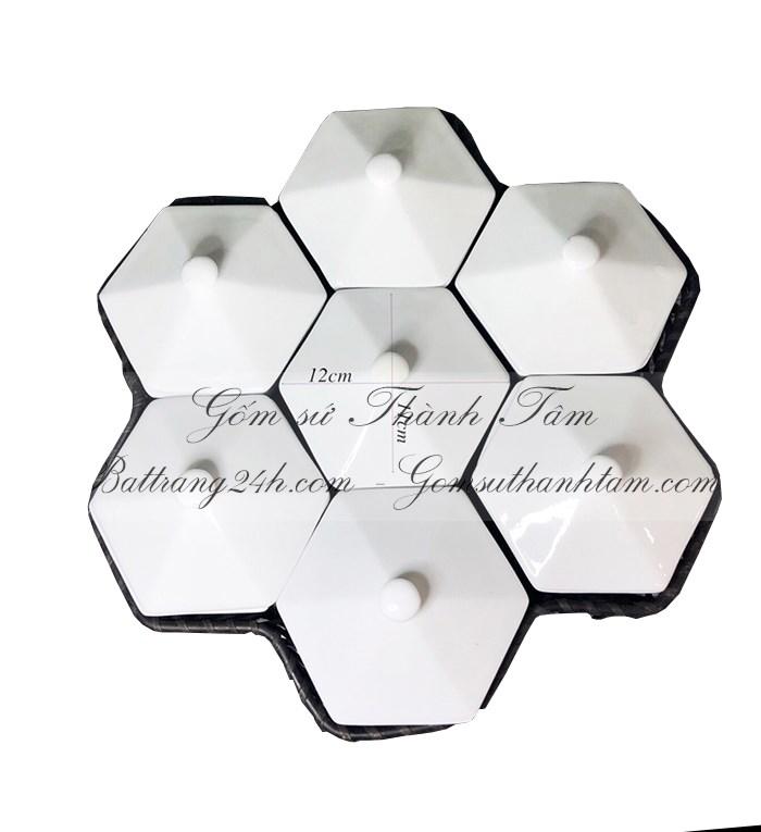 Mua bộ khay đĩa gốm sứ màu men trắng cao cấp có giỏ mây nắp đậy, khay đĩa giá tốt quà tặng In ấn logo