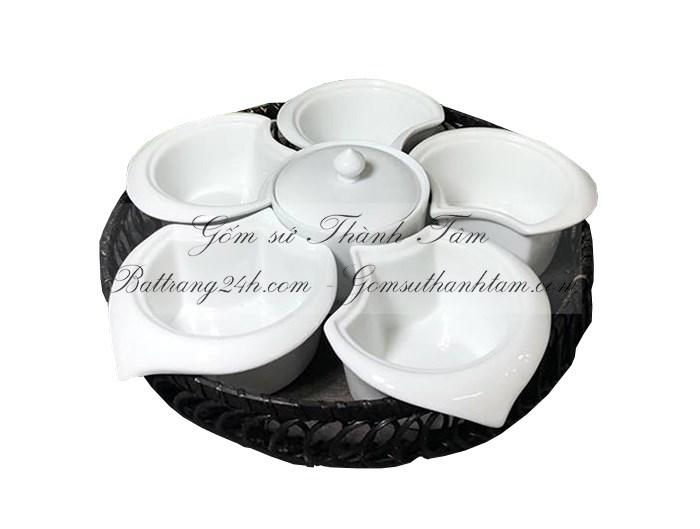 Mua bộ khay đĩa sứ có chia nhiều ô màu men trắng, khay đĩa cao cấp có nắp đậy