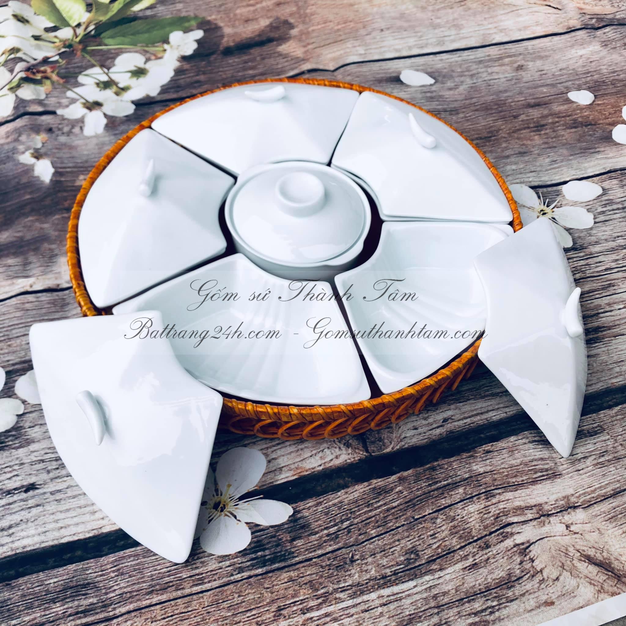 Mua khay đựng bánh kẹo gốm sứ chất lượng ở đâu giá rẻ, tốt bền đẹp nhất màu men trắng